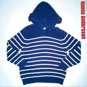 Hanna Andersson striped knit hoodie pullover